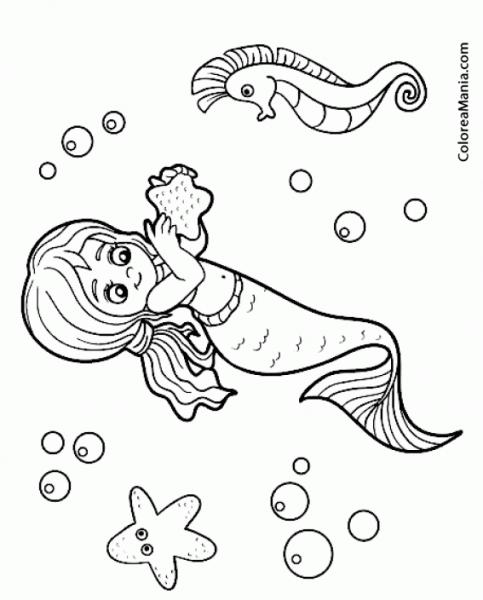 Colorear Sirena Con Caballito De Mar (animales Fantásticos
