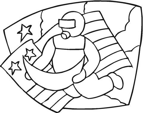 Dibujo De Astronauta, Luna Y Bandera Americana Para Colorear