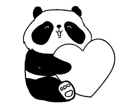 Dibujo De Amor Panda Para Colorear