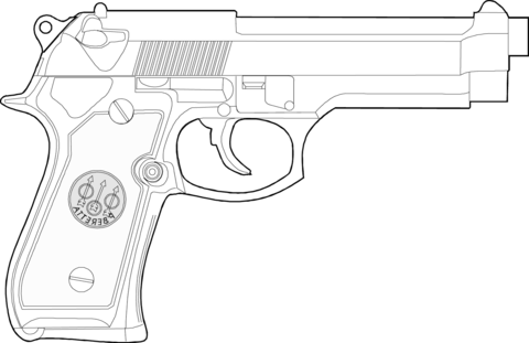 Dibujo De Pistola Beretta Para Colorear