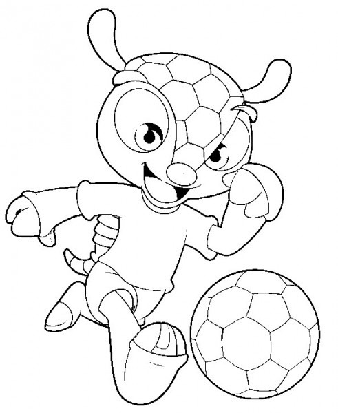 Dibujo Para Colorear Copa Mundial De Fútbol 2014   Fuleco 2