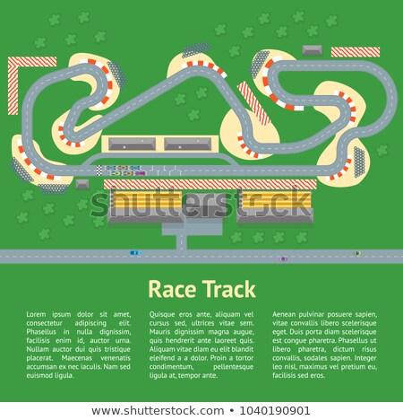 Cartoon Race Track Cars Landscape Card Vector De Stock (libre De