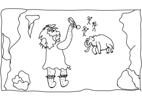 Dibujo De Hombre De Las Cavernas Dibujando En La Pared Para
