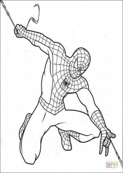 Dibujo De El Hombre Araña Trasladándose Para Colorear