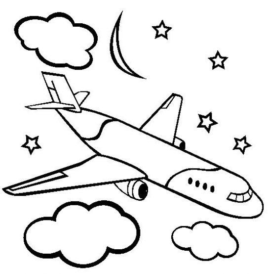Dibujo De Avión Volando De Noche Para Colorear  Dibujos Infantiles