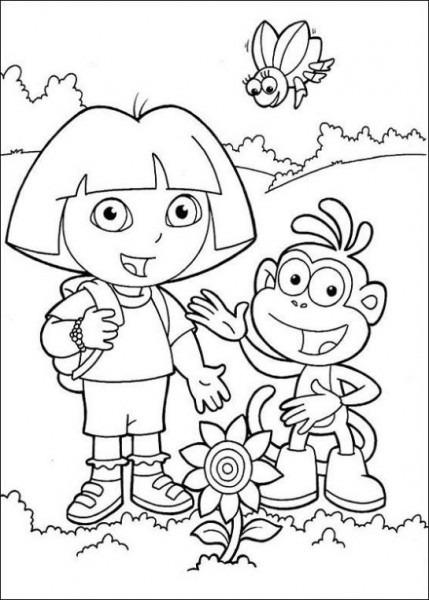 Dibujo De Dora Y Botas Para Colorear  Dibujos Infantiles De Dora Y