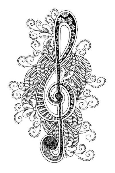 Dibujo Para Colorear Relajante Musica   Clave De Sol 6