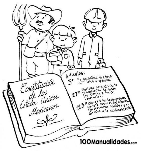 Constitución Mexicana Para Colorear E Imprimir Primaria