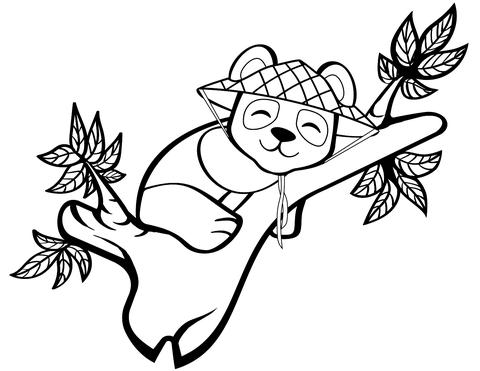 Dibujo De Precioso Panda En Un árbol Para Colorear