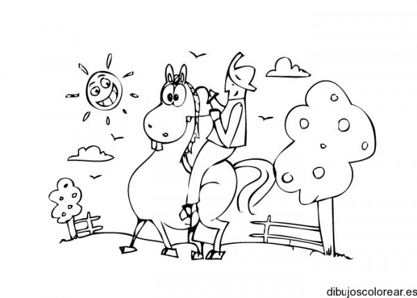 Dibujo De Un Caballo Con Jinete