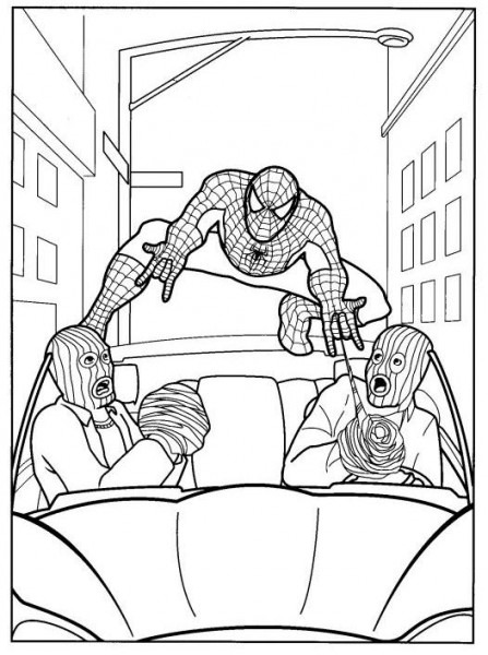 Dibujos Para Colorear De Spiderman Capturando Villanos
