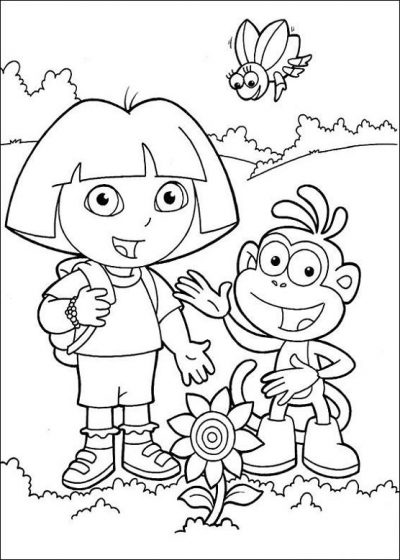 Dibujo De Dora Y Botas  Dibujo Para Colorear De Dora Y Botas