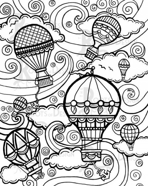 Hot Air Balloon  92 (transporte) – Páginas Para Colorear