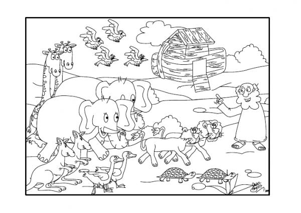 Dibujos Cristianos Para Colorear  El Arca De Noe Para Colorear