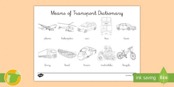 A1 Diccionario Para Colorear  Medios De Transporte En Inglés