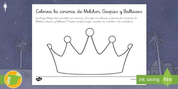 Hoja De Colorear  Corona De Melchor, Gaspar Y Baltasar