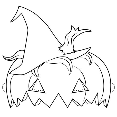 Dibujo De Mascara De Calabaza De Halloween Para Colorear
