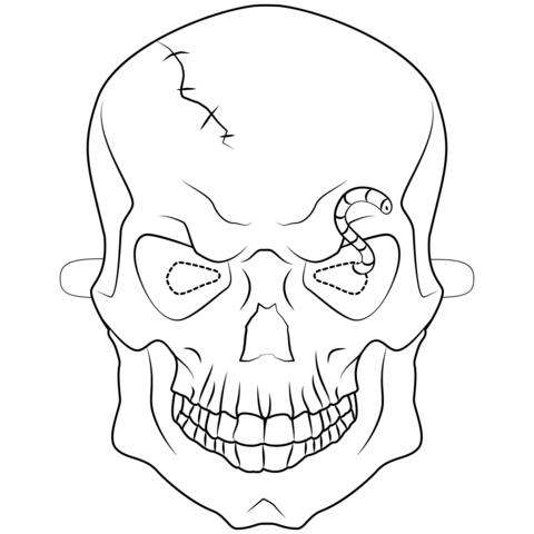 Dibujo De Máscara De Calavera De Halloween Para Colorear