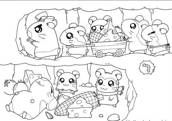 為孩子們的著色頁  Hamtaro Y Sus Amigos Haciendo Un Tunel