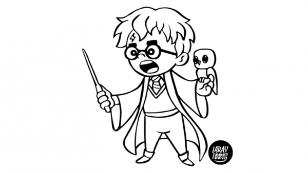 Harry Potter Estilo Chibi Para Colorear