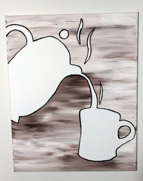 Coffee Pot Flow Painting Diy Canvas Coloring Page For