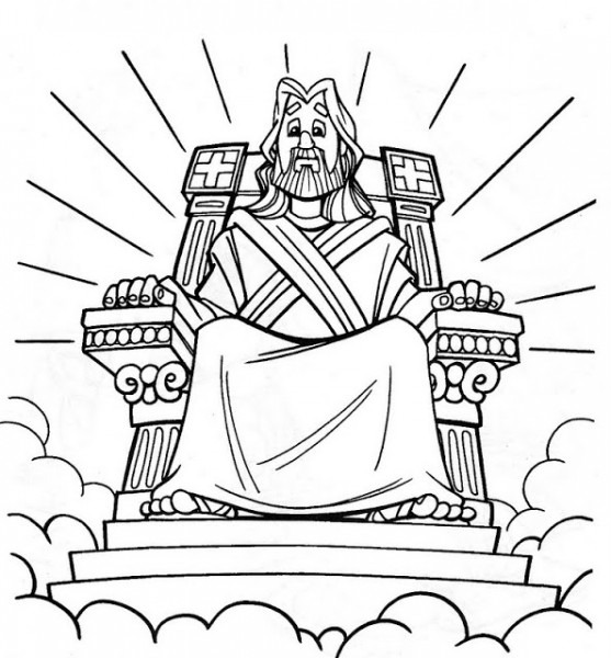 Dibujos Cristianos Para Colorear  Dios Sentado En Su Trono Para
