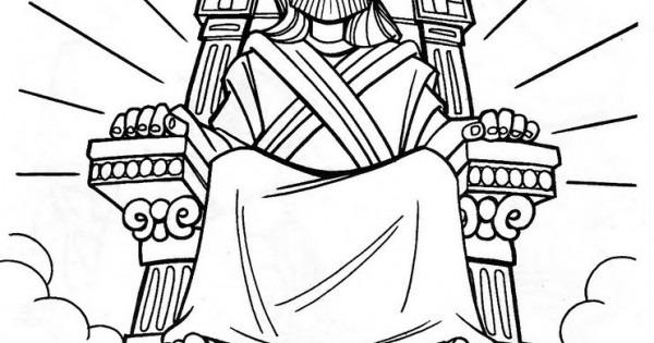 Dibujos Católicos   Jesús En El Trono Para Colorear