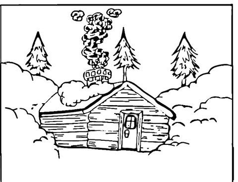Dibujo De Cabaña De Troncos Para Colorear