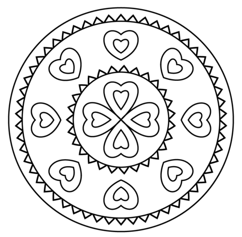 Dibujo De Mandala Con Patrón De Corazón Para Colorear
