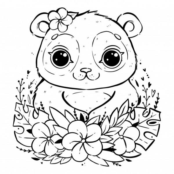 Retrato De Un Lindo Panda Con Hojas Y Flores Tropicales, Panda Con