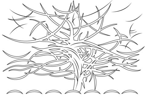 Dibujo De El árbol Gris, De Piet Mondrian Para Colorear