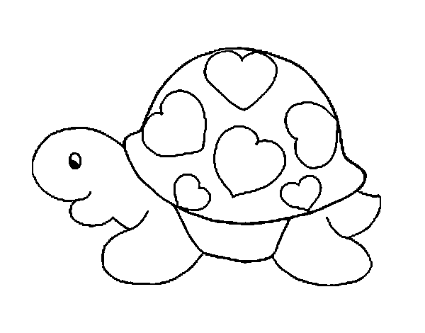 Dibujo De Tortuga Con Corazones Para Colorear
