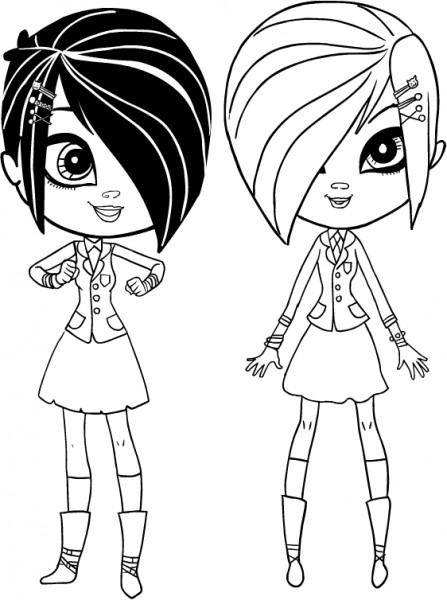 Dibujo Whitney And Britney Biskit The Twins Of Littlest Pet Shop