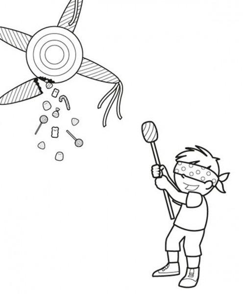 Piñata De Cumpleaños  Dibujo Para Colorear E Imprimir