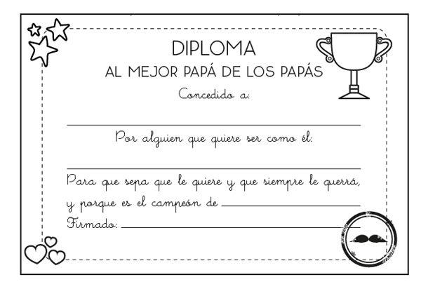 Imprimir  Diploma Al Mejor Papá  Dibujo Para Colorear E Imprimir