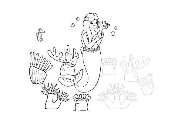 Imprimir  La Sirenita  Dibujo Para Colorear E Imprimir