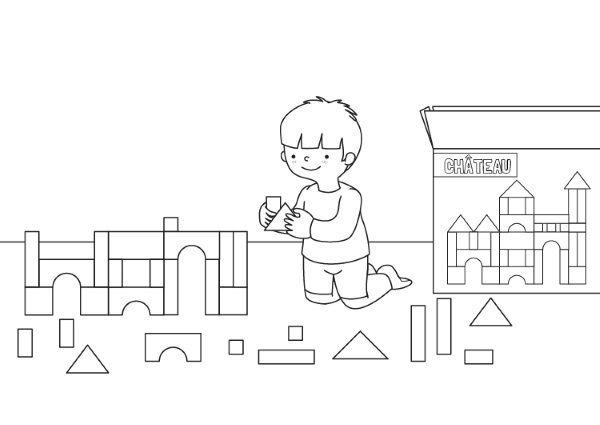 Niño Jugando  Dibujo Para Colorear E Imprimir