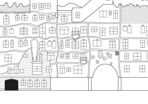 Casa Hundertwasserde  Dibujo Para Colorear E Imprimir