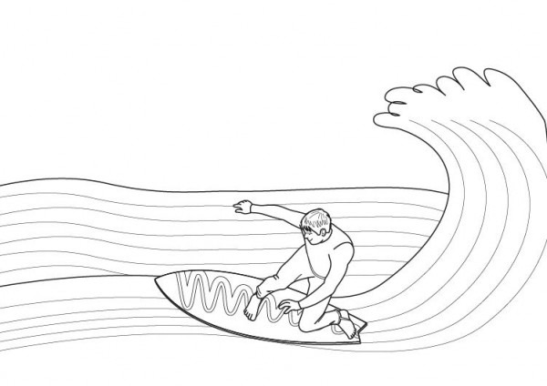 Surf  Dibujo Para Colorear E Imprimir