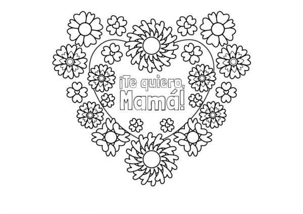 Flores Y Corazones  Dibujo Para Colorear E Imprimir