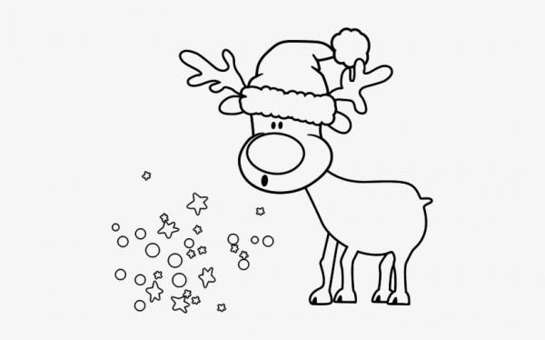 Dibujo De Reno Con Gorro Para Colorear Christmas Cards