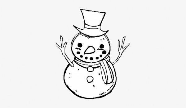 Dibujo De Un Muñeco De Nieve Con Sombrero Para Colorear