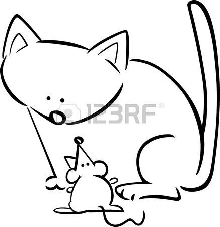 Un Gato Y Un Raton Para Colorear