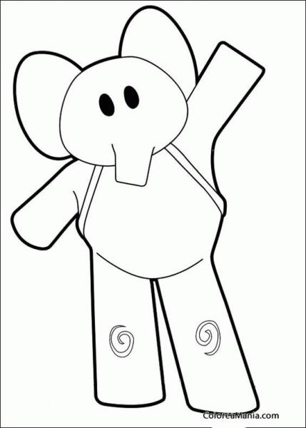 Colorear Elly Se Va A La Escuela (pocoyó), Dibujo Para Colorear Gratis