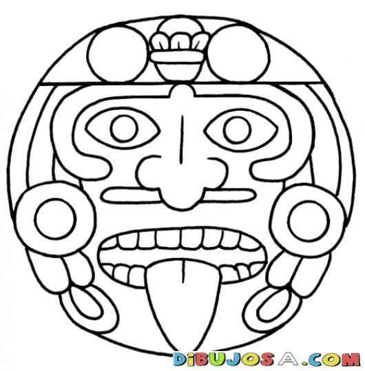 Mandalas Para Colorear Estela Maya Geroglifico Y Cara De Los Mayas