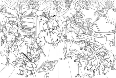 Dibujo De Todos Los Animales Tocando Juntos Instrumentos Musicales
