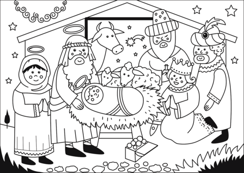 Dibujo De Adoración De Los Reyes Magos Para Colorear