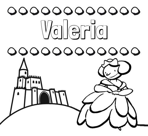 Nombre Valeria  Dibujos Para Colorear Su Nombre Y Una Princesa
