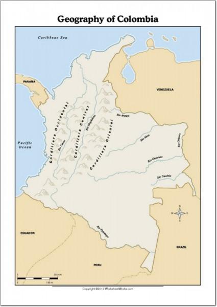 Mapa Físico De Colombia Mapa De Ríos Y Montañas De Colombia