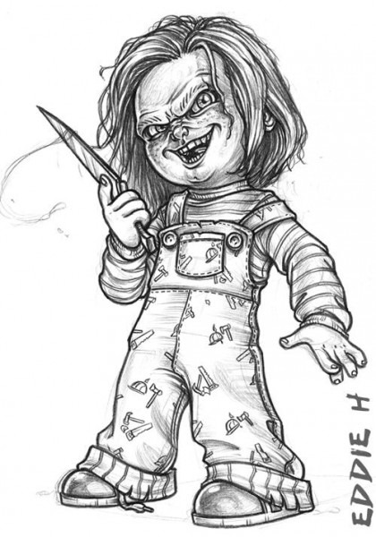 Chucky Sketch By Eddieholly Deviantart Com On @deviantart  This Is